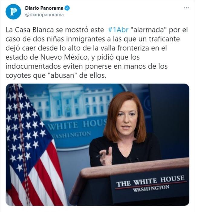 Casa Blanca alarmada niñas arrojadas muro fronterizo 2