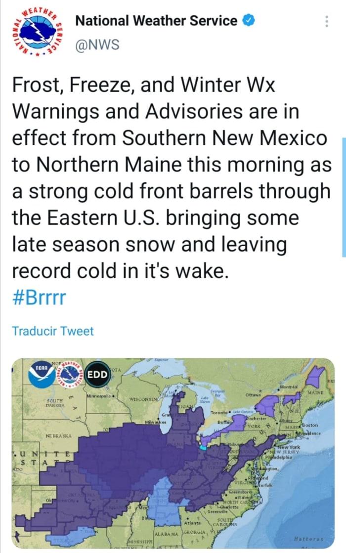 Alerta clima heladas nieve