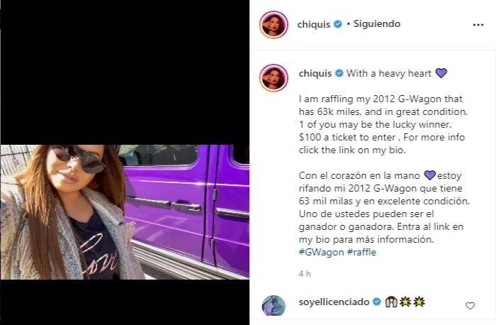 ¿Se queda sin dinero? Chiquis Rivera rifa su camioneta Hija de Jenni Rivera