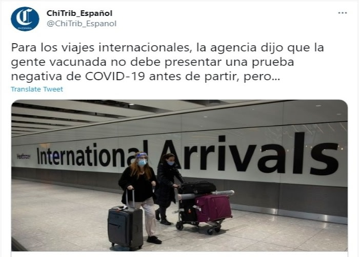Las personas con 2 dosis de vacuna contra el coronavirus pueden volver a viajar