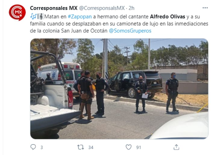Narcomanta Alfredo Olivas, Irving Olivas, hermano ataque