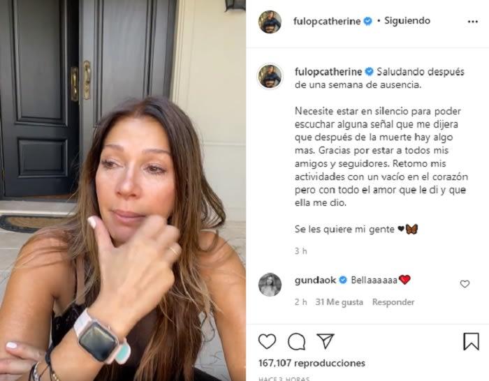 Catherine Fulop está de luto tras la muerte de su suegra Beatriz Garófalo