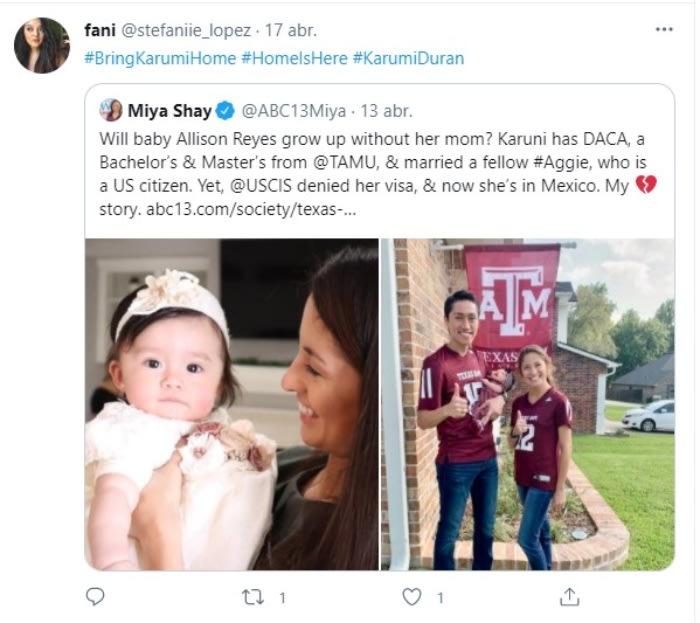Niegan ciudadanía a la dreamer Karumi Durán y se queda 'atrapada' en México, mientras su bebé está en EE.UU.