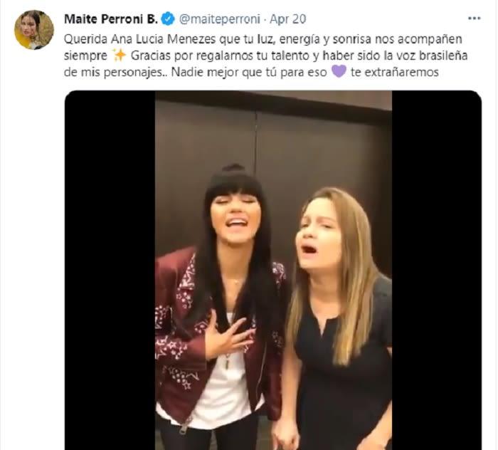 Maite Perroni está de luto por el fallecimiento de actriz de Rebelde Ana Lucía Menezes
