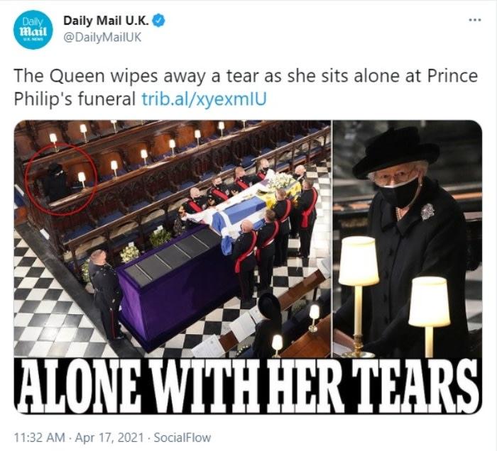 La reina Isabel llora sola en funeral de su esposo, el príncipe Felipe, duque de Edimburgo