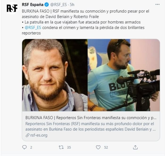 Mueren dos periodistas españoles tras emboscada en Burkina Faso