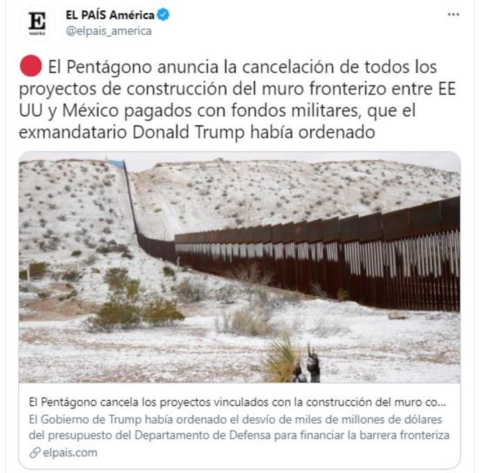 Biden canceló contratos del muro