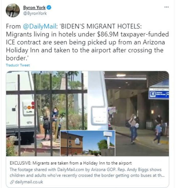 migrantes en Holiday Inn