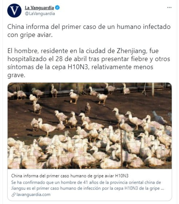 China reports possible first human case of H10N3 bird flu