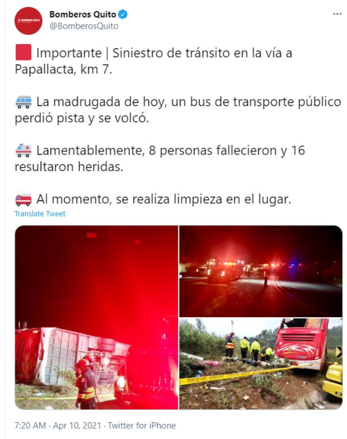 Autobús Ecuador Volcadura