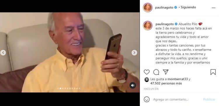 Paulina Goto muerte abuelo Pilo 2