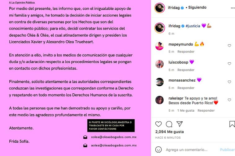 Frida Sofía informa sobre demanda (IG)