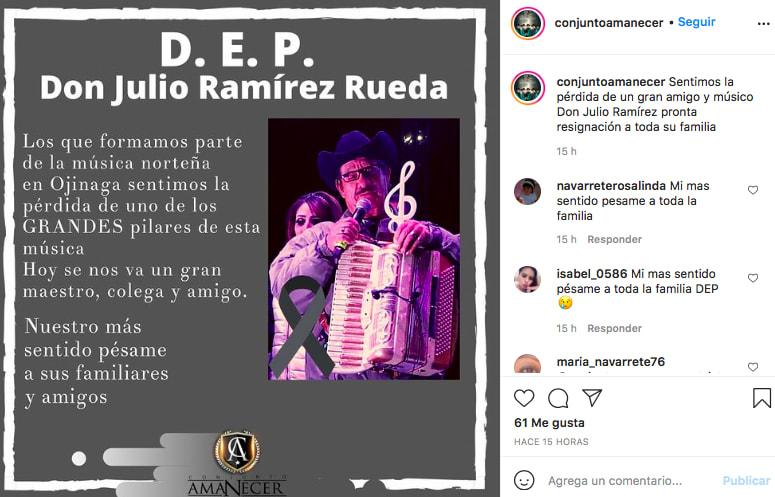 Julio Ramírez Rueda (Instagram Conjunto Amanecer)