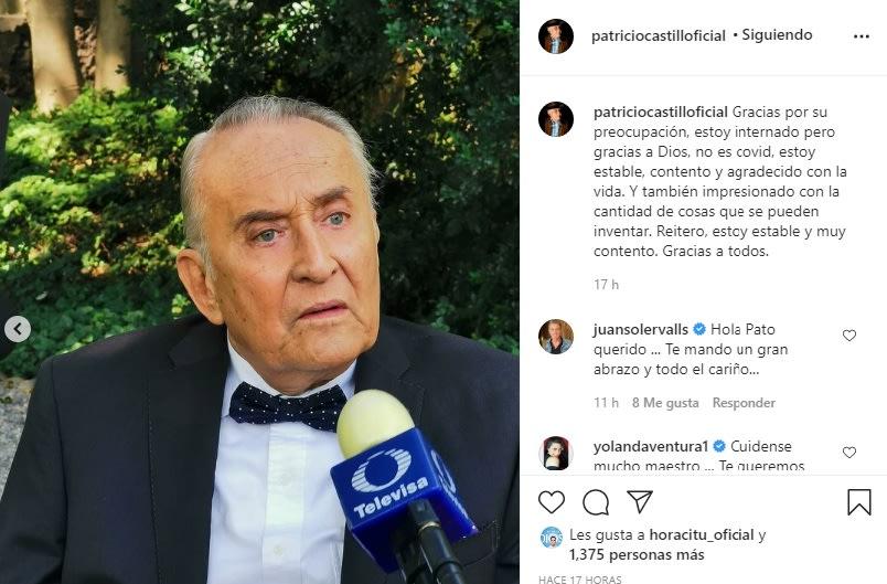El actor Patricio Castillo desmiente que esté muy grave de salud