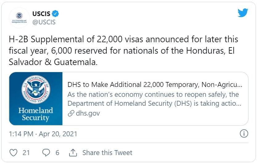 Gobierno de Biden aumenta cantidad de visas de trabajo temporal que otorgará