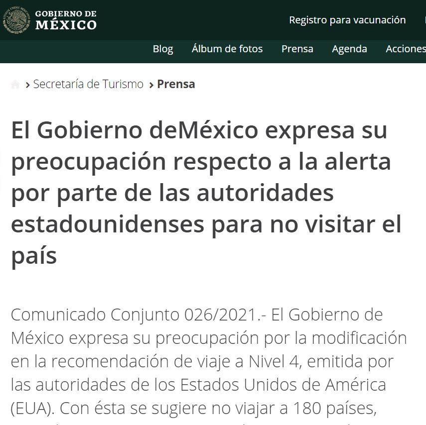 alerta de viaje a México