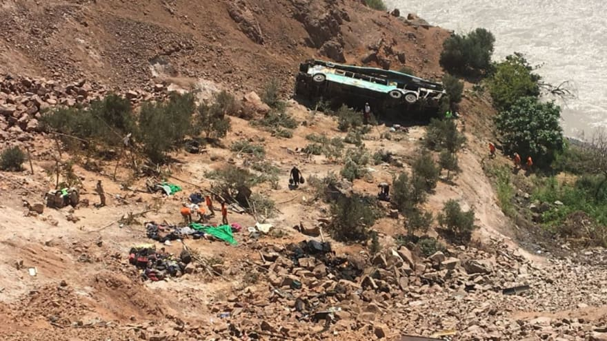 The bus fell down the valley