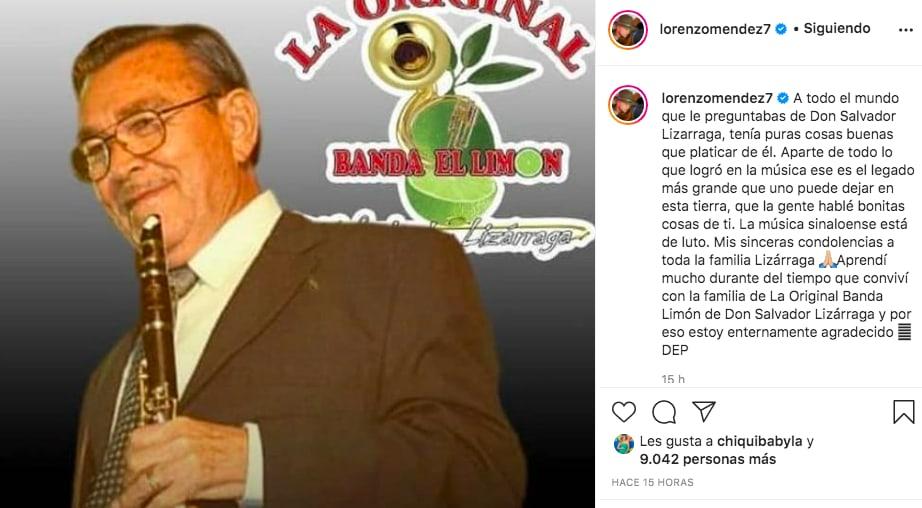 Lorenzo Méndez de luto Salvador Lizárraga