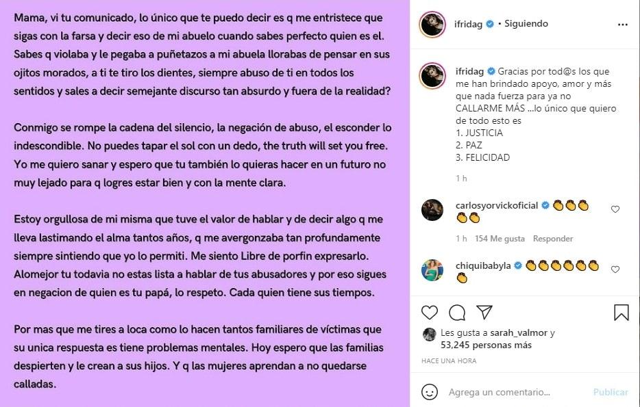 Frida Sofía reacciona al mensaje de Alejandra Guzmán donde defiende a Enrique Guzmán