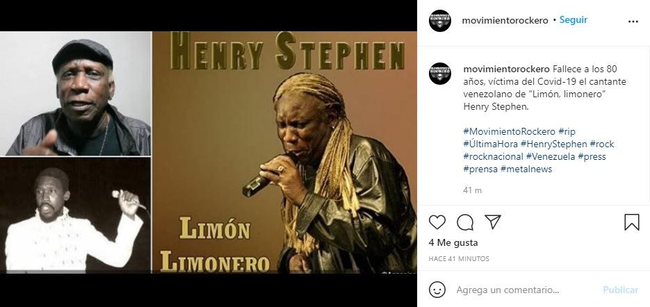 Confirman muerte del cantante Henry Stephen por complicaciones del COVID-19