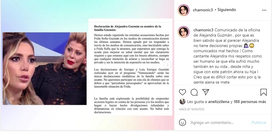 Alejandra Guzmán reacciona a las acusaciones de Frida Sofía y dice que no habrá más declaraciones Enrique Guzmán
