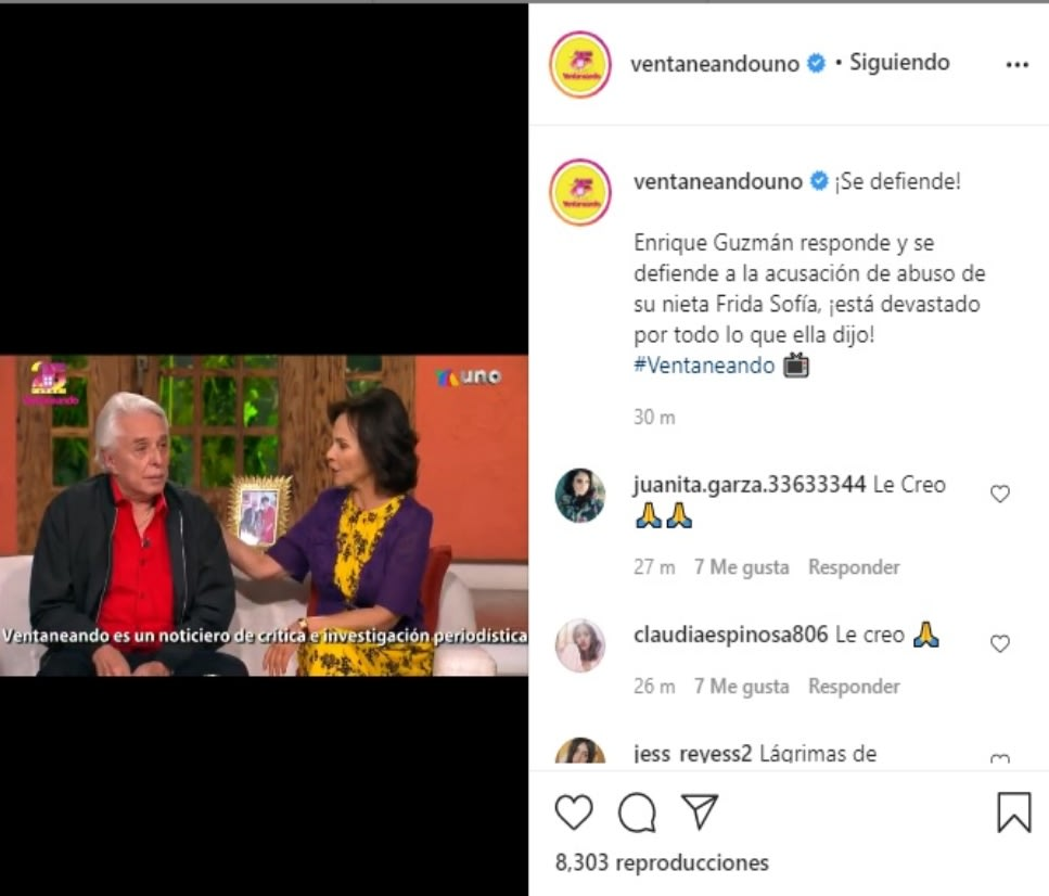 Enrique Guzmán cries after accusations of Frida Sofía and says he does not know what to do