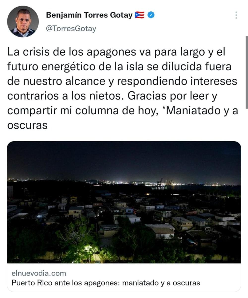 Apagones por días se unen a la 'desgracia' en Puerto Rico