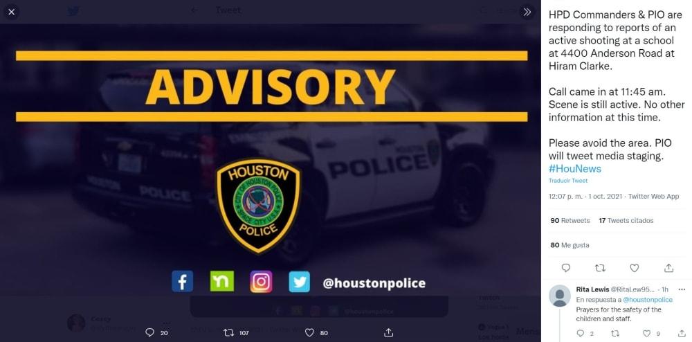 Tiroteo escuela Houston octubre: El reporte policial