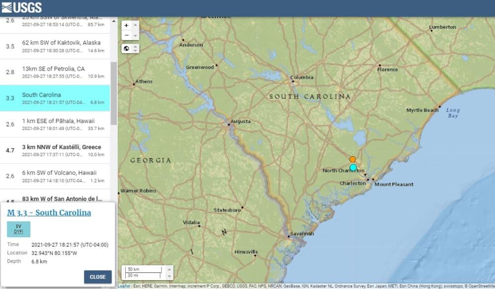 Reportan segundo sismo el mismo día en Carolina del Sur