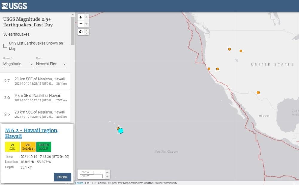 Report that intense magnitude 6.2 earthquake shook Hawaii