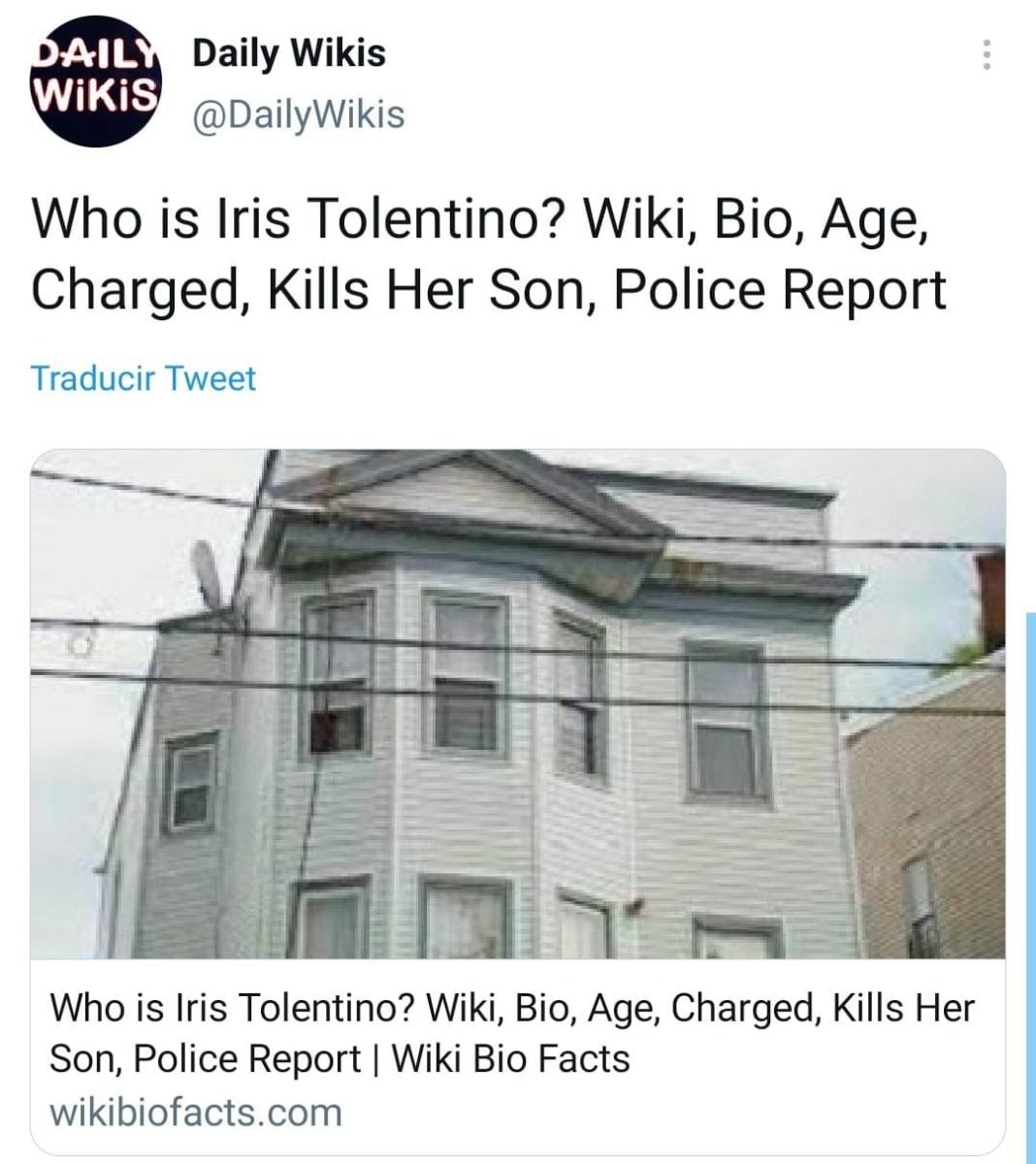 Madre Hispana apuñalar hijo, Iris Tolentino