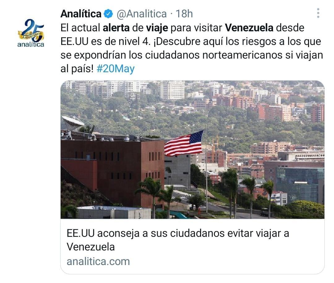 Alerta de viaje Venezuela