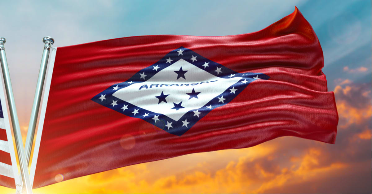 Bandera doble Estados Unidos y Bandera de Arkansas Bandera de Estados Unidos