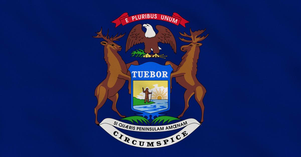 Bandera de tela en bruto del estado de Michigan