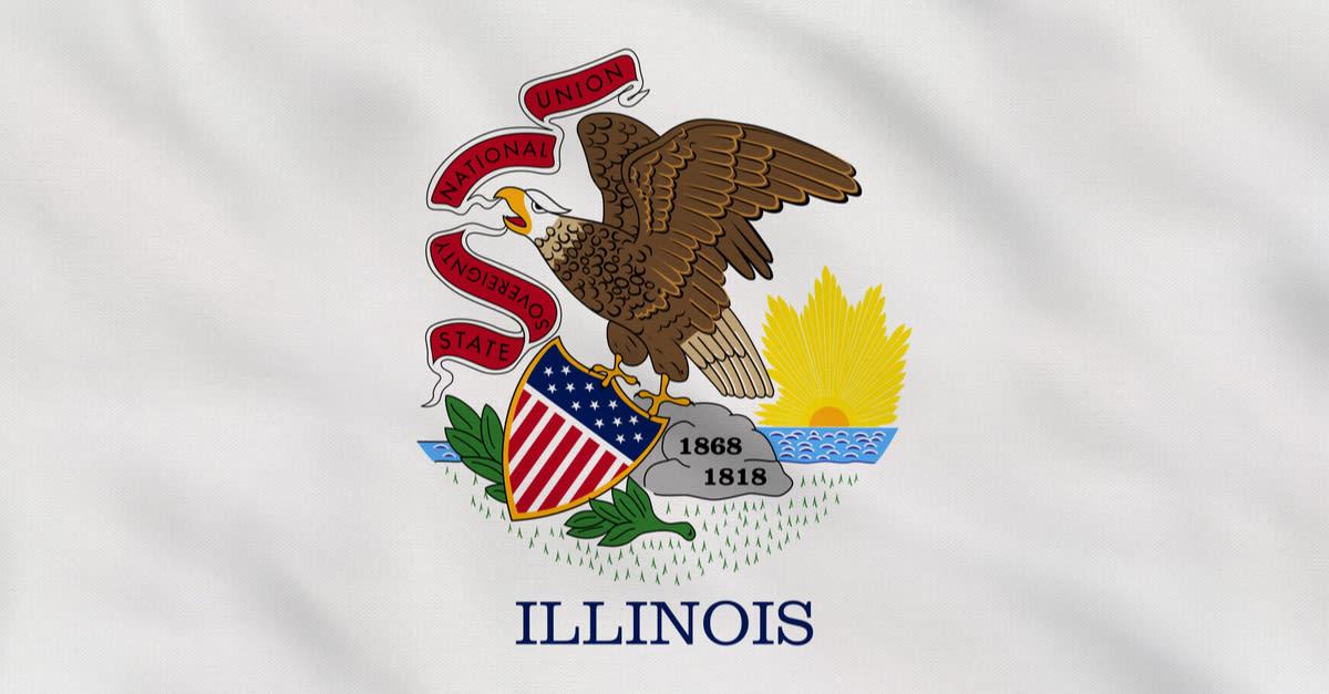Bandera de tela en ruinas del estado de Illinois - USA