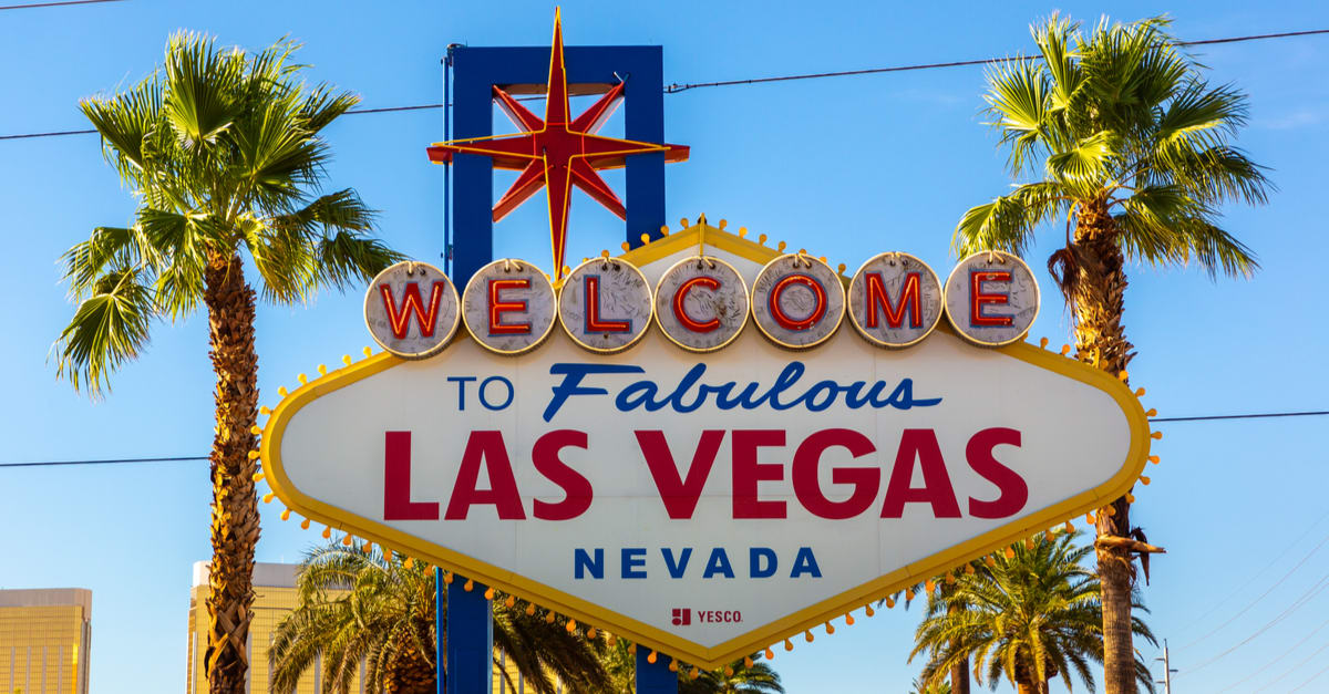 Welcome to Fabulous Las Vegas sign on a sunny day in Las Vegas, Nevada, USA