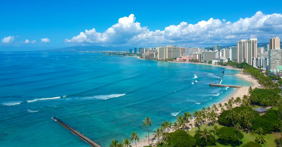 vistas panorámicas aéreas de la playa de Waikiki Honolulu Hawaii