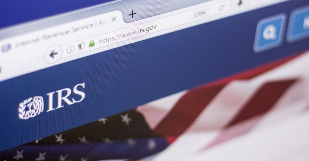 Homepage of Internal Revenue Service website on a display of PC, web adress