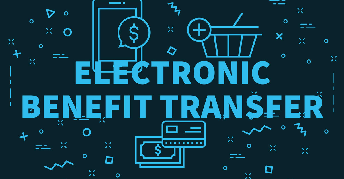 Conceptual business illustration with the words electronic benefit transfer