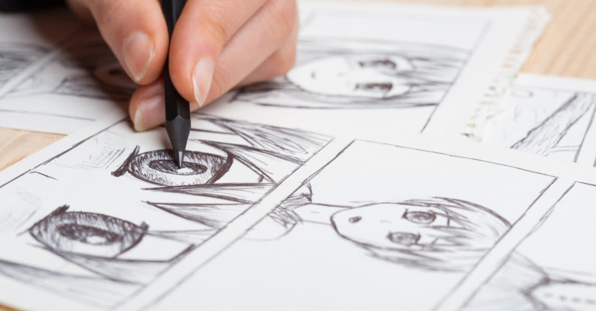 A pencil cartoonist working on a manga in Tokyo