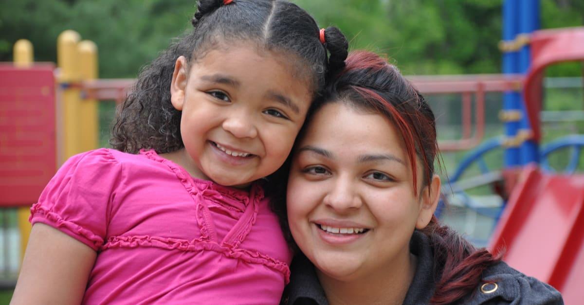 Latin family single mother at recess close photo