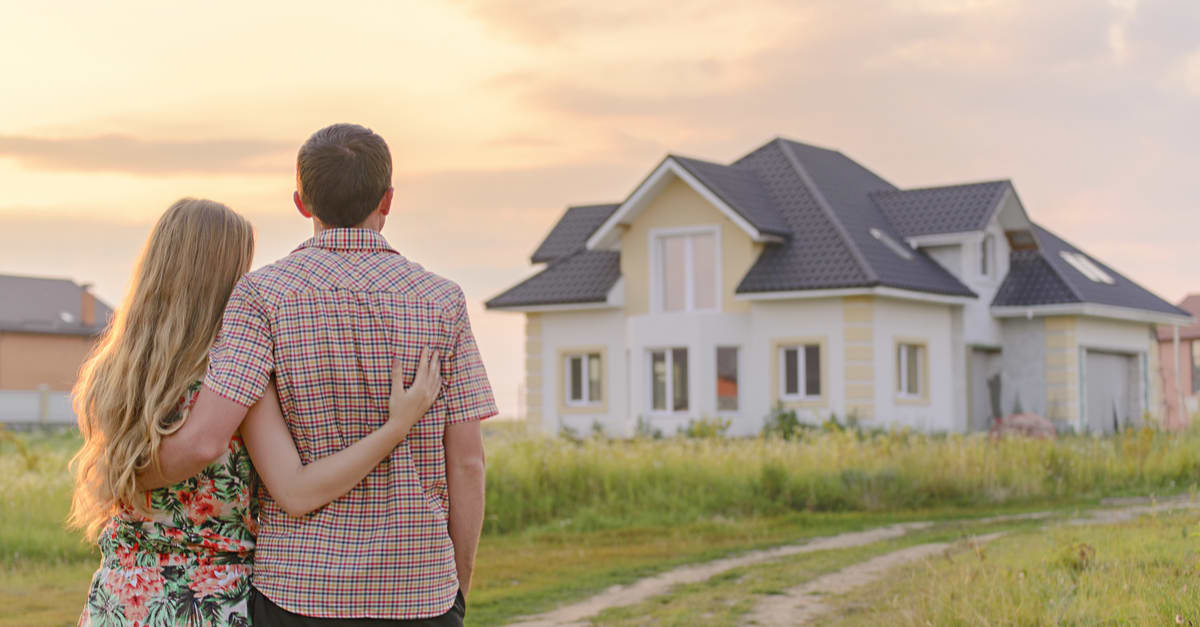 loving couple looking at home