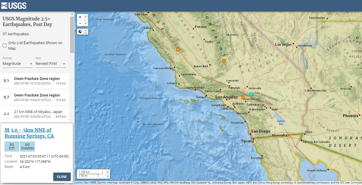 Reportan sismo de magnitud 3.4 en California que se sintió hasta México