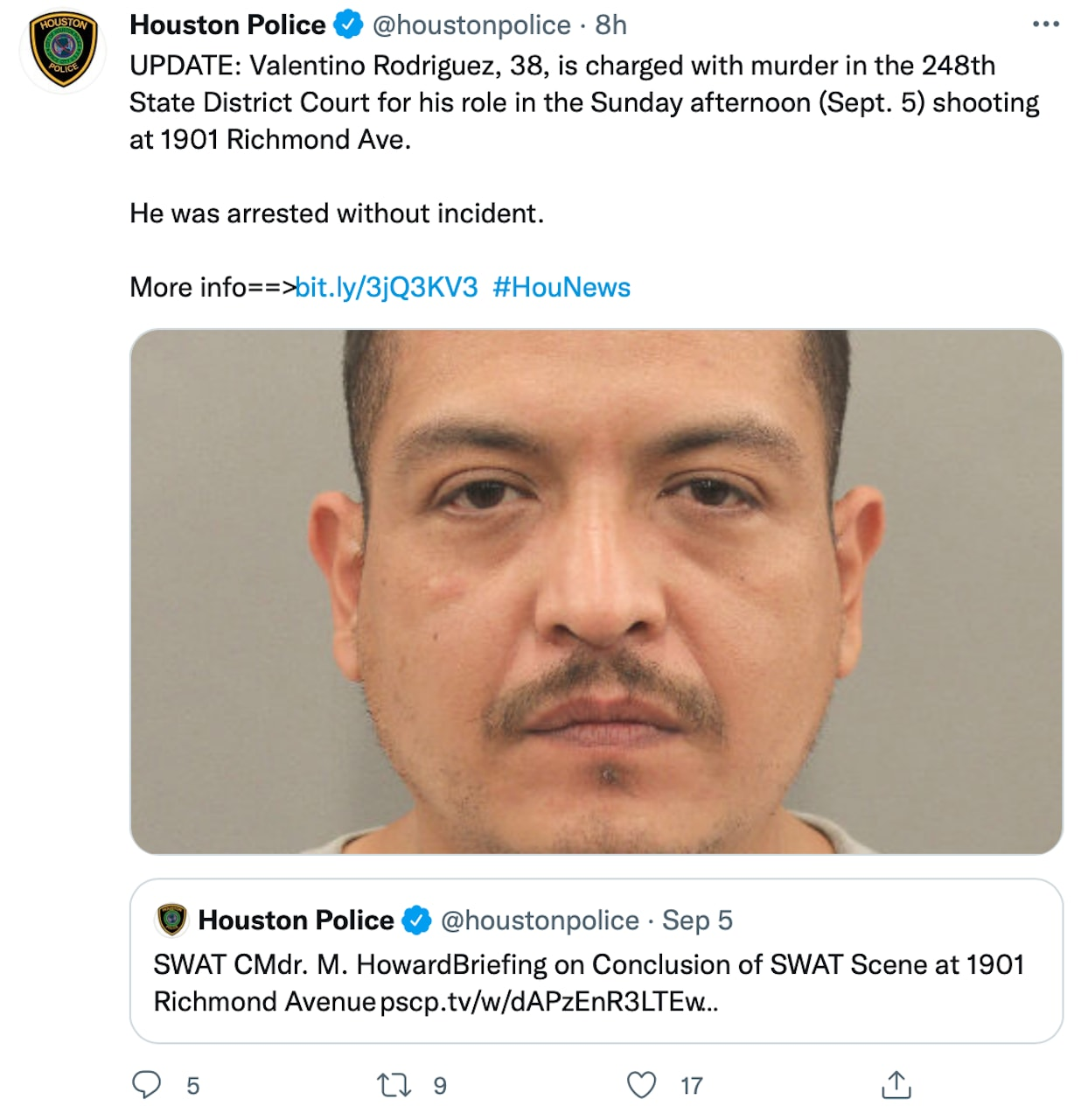 Valentino Rodríguez was arrested for the shooting homicide of another man (PHOTOS)