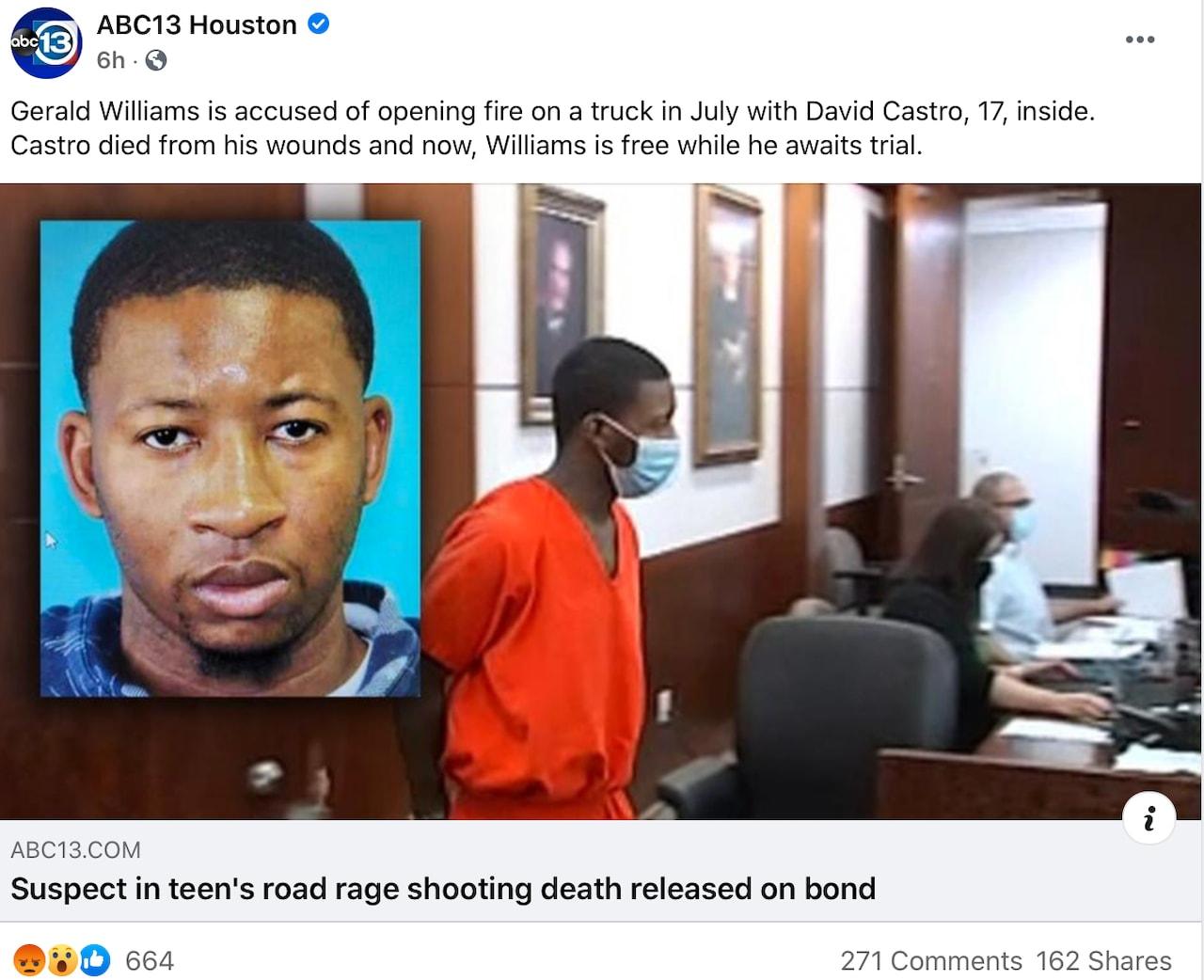 David Castro asesino libre: Gerald Williams dispara desde su auto
