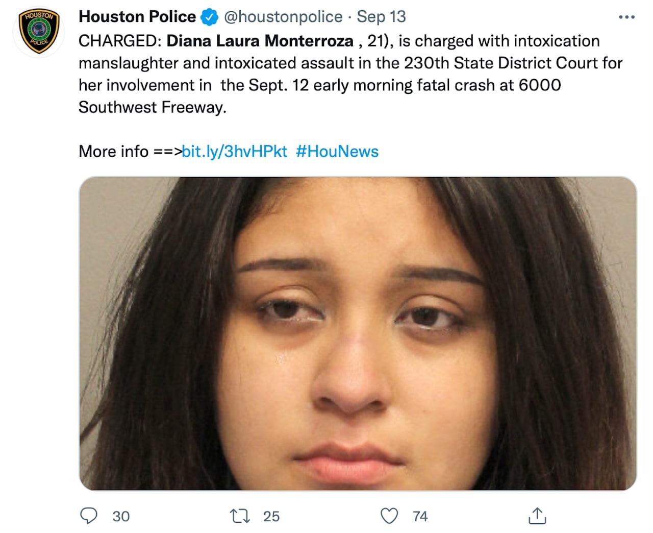Diana Monterroza es acusada de un homicidio por conducir ebria (FOTOS) Diana Laura Monterroza se pasa la luz roja