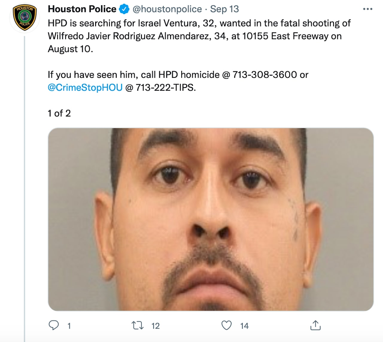 Israel Ventura is wanted for the shooting homicide of a man (PHOTOS)