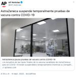 AstraZeneca detiene pruebas de ensayo de vacuna contra COVID-19