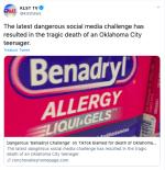 Benadryl Challenge se cobra la vida de adolescente de Oklahoma