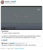Retorno de astronautas de la NASA es celebrado por Trump